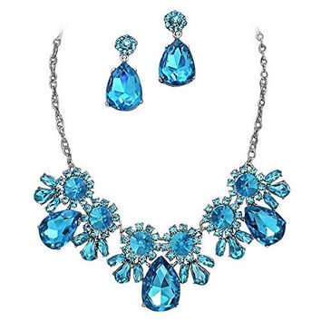 On Trend Aqua Blue Rhinestone Faceted Statement Necklace Set Bridesmaid Party Silver Tone