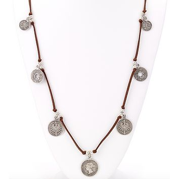 Antique Coin Long Leather Necklace