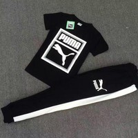 """ PUMA "" Black Top Tee Leisure Sports Pants Sweatpants Two-Piece"