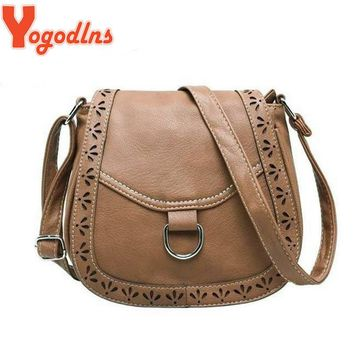 Yogodlns 2017 hot new arrival cutout women vintage bag postman purses shoulder bags women hollow crossbody  design bags