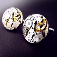 Steampunk cuff links, unisex steampunk cufflinks, round steampunk cufflinks, mens steampunk, watch movement cuff links, unique cuff links.