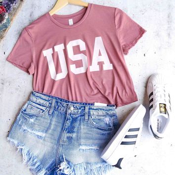 distracted - USA cropped top graphic tee - mauve/white