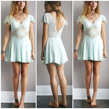 A Lovely Diamond Cutout Romper- Aqua