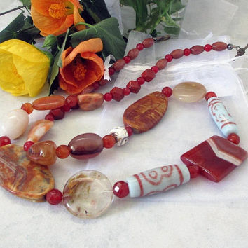 Stone Jewellery, Natural Gemstone Necklace,Semi Precious, Handmade, Statement, Earthy Colors, Semi Precious, Gift for Her 75cm (29.5In)