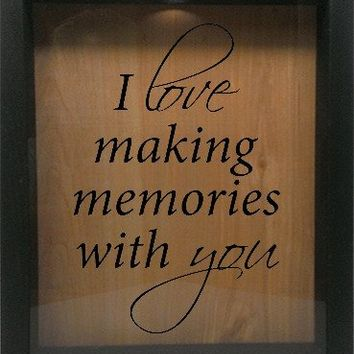 "Wooden Shadow Box Wine Cork/Bottle Cap Holder 9""x11"" - I Love Making Memories With You"