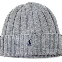 Polo Ralph Lauren Men's Wool Cuff Icon Heather Gray Beanie Hat