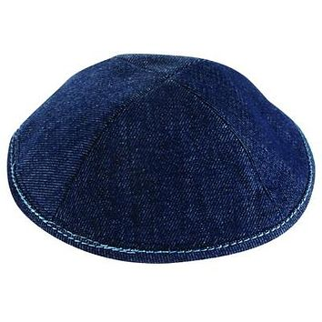 JEANS KIPPAH 19 CM, WITH PIN SPOT AND RED STRING