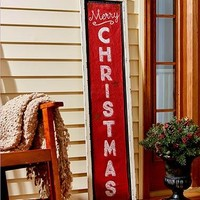 Merry Christmas Red or White Trim Burlap 4 Foot Porch Sign Holiday Winter Decor