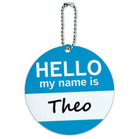 Theo Hello My Name Is Round ID Card Luggage Tag