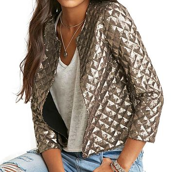 2017 New Spring Style Vogue Lozeng Women Gold Sequins Jacket Three Quater Sleeve Fashion Coats Outwear S-2XL