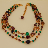 "Bohemian Vintage Necklace Multi Color Bead 1980s 17"" Triple Layer Gold Chain with Earth Colored Beads- Signed Sequin - Gift for Her"