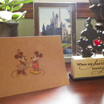 Disney Mickey Loves Minnie Stamp and Color Pencil Kraft Cards and Envelopes - Set of 10