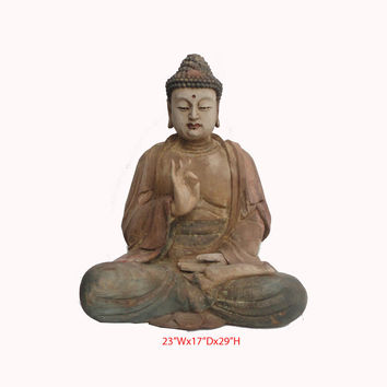 Hand Carving Sitting Buddha Statue Chinese Antique Wood