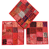 Set Of 3 Red Vintage Patchwork Embroidered Handmade Cotton Cushion Cover 16x16