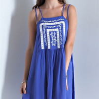 Embroidered Handkerchief Dress - Royal