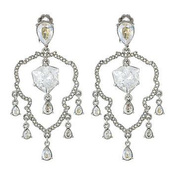 Oscar de la Renta Shield Crystal Chandelier C Earrings