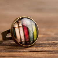 Colorful books ring, adjustable ring, statement ring, brass ring, glass ring, antique bronze / silver plated ring base, jewelry gift for her
