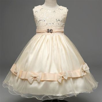 Summer Brand Girls Clothes Kids Vintage Tulle Party Wear Dress For 3-8 Years Toddler Girl Dress Champagne Children Girl Clothing