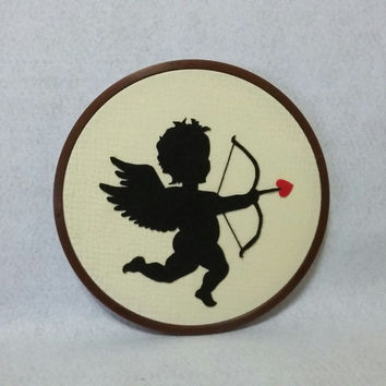 Cupid wall decor, Valentines wall art, Valentines day Gift, Gift for her, Romantic gift, Valentines day wall decor, Embroidery hoop art