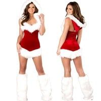 Women Fashion Hooded Sleeveless Backless Mini Dress Christmas Clothes Temptation Uniform Set