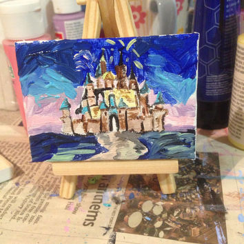 Disney World Castle Inspired Mini Canvas Painting