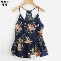 CharmDemon top women  Floral Casual Sleeveless Top Vest Tank Shirt Blouse Cami Top summer clothes womenG1