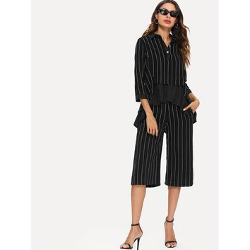 Ruffle Hem Pinstripe Top & Wide Leg Pants