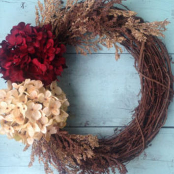 Fall Door Wreath, Front Door Wreath, Fall Wreath, Rustic Wreath, Door Wreath, Wedding Wreath, Wreath For Door, Home Decor, Door Wreath