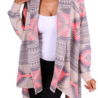 Tribal Print Cardigan - Coral