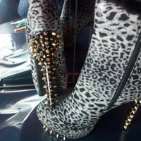 Black, White and Grey Cheetah print Ankle Boot with Gold Spikes and Fur