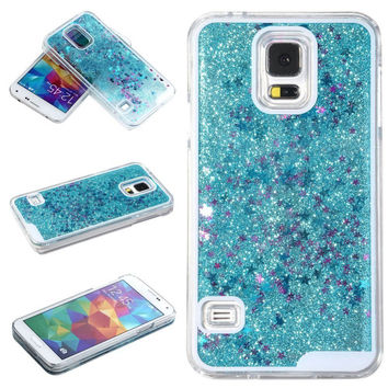 New Fun Glitter Star Flowing Liquid ransparent Clear Covers Hard Plastic Phone Case For Samsung Galaxy S4 S5 S6 protect covers