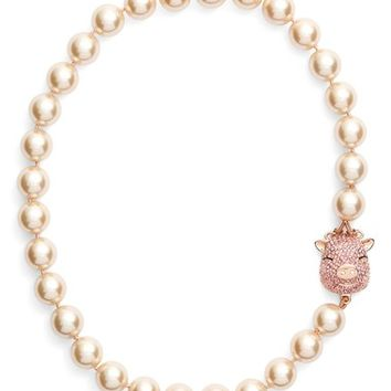 kate spade new york 'wild imagination' pig charm faux pearl necklace | Nordstrom