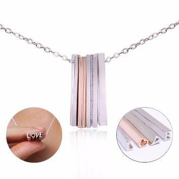 Qilmily 3D Hidden Message Love Heart Pendant Necklace for Women Girls Lovers Tiny Love Long Silver Bar Letter Jewelry Gifts