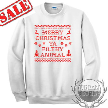 merry christmas ya filthy animal sweater- unisex crewneck- christmas sweater- ugly christmas sweater- merry christmas ya filthy animal