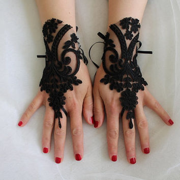 Gothic black, lace wedding gloves, costume gloves,halloween gloves, free shipping!