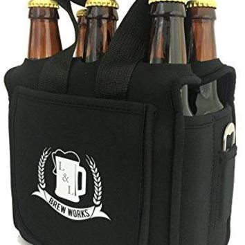 LampL Brew Works Six Pack Craft Beer Carrier Neoprene Six Pack Caddy with Bottle Opener and Essentials Pocket