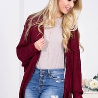 Wine Knit Dolman Loose Cardigan