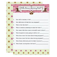 Monkey Girl Baby Shower Who Knows Mommy Best Game Card