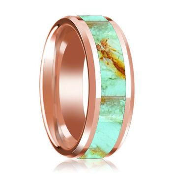 14K Rose Gold Wedding Band Inlaid with Turquoise Stone Beveled Edge Polished Ring