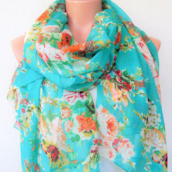 Floral Scarf ,Women Scarf ,  Summer Scarf  Gift for Her Wife  Boho Scarf , Chiffon Fabric Scarf ,  Women fashion Gift for Women Accessories