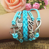 NT0063 Owl Love Boat Leather Bracelet romantic password