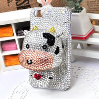 White Cow 3D Plastic Doll Deco Den Kits for DIY i phone 4 case iphone 4s Shell (matched with the iphone case)
