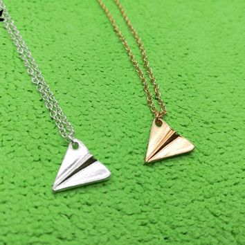 30PCS- Tiny Paper Plane Necklace Harry European Airplane Necklace Aircraft Pendant Origami Plane Necklaces For Women