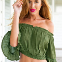 Green Off Shoulder Frilled Crop Top