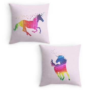 Unicorn Throw Pillow, Pink Scatter Cushion, 16x16 Cushion Cover, Pink Room Decor, Magical Nursery, Gift for Girls