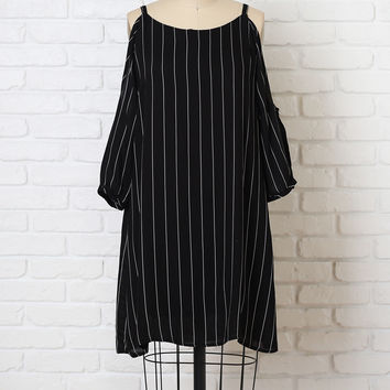 Striped Cold-Shoulder Shift Dress-FINAL SALE