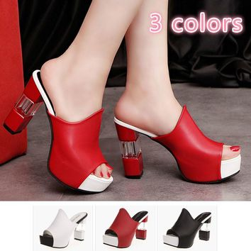2017 Women's Fashion Wedge Slippers Open Toe Pump Summer High Heel Sandals