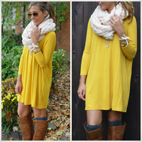 Heaven's Bliss Mustard Quarter Sleeve Solid Dress