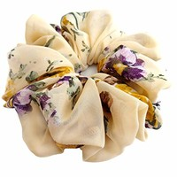 Cream Small Bright Flowers Scrunchies for Hair Large Chiffon Designer Accessories Elastic Hair Ties Headband Ponytail Holder