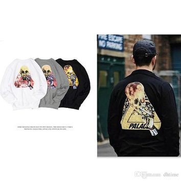 PALACE 17SS SKELEDON Print Skateboards Hoodies Men Cotton Hip Hop Hoodie Sweatshirt Men Outdoor Sport Hoodies White Hombre